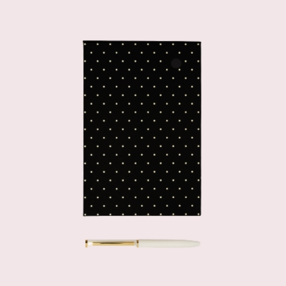 Kate Spade Black Dot Loose Note Holder With Pen